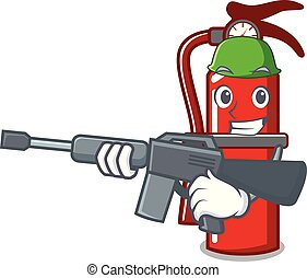 Army fire extinguisher character cartoon