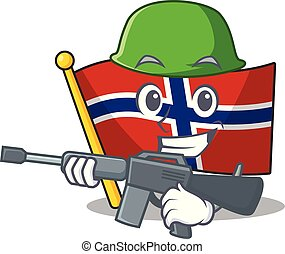 Army flag norway character shaped on cartoon