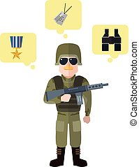 Army flat cartoon illustratoon