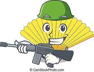 Army folding cartoon fan in the bag
