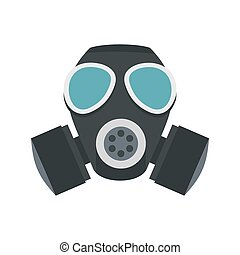 Army gas mask icon, flat style
