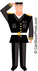 Army general with hand gesture saluting. Happy veterans day design element.