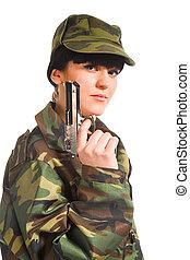 army girl holding gun
