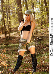 Army girl in forest