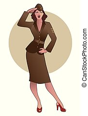 Army girl in retro style wearing soldiers uniform from the 40s or 50s doing military salute