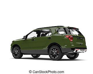 Army green modern SUV car - side view