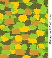 Army Hand drawn doodle pattern seamless. Military Abstract modern trendy background. Green protective vector texture