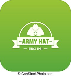 Army hat icon green vector isolated on white background