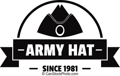 Army hat logo, simple black style - Army hat logo. Simple...
