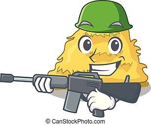 Army hay bale character cartoon vector illustration