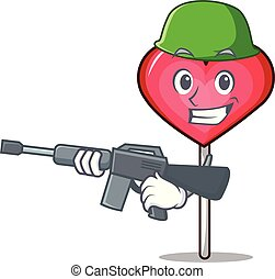 Army heart lollipop character cartoon vector illustration