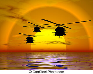 Army Helicopter, Blackhawk - illustration of american...