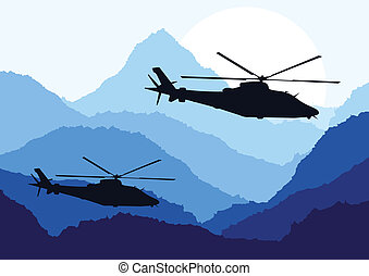 Army helicopters landscape background illustration