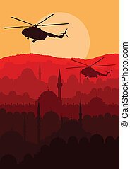 Army helicopters landscape background