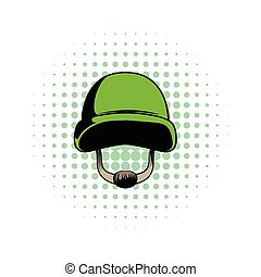 Army helmet comics icon