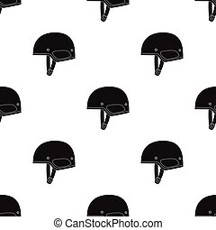 Army helmet icon in black style isolated on white background. Military and army pattern stock vector illustration