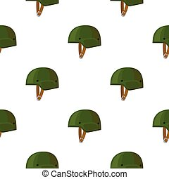 Army helmet icon in cartoon style isolated on white background. Military and army pattern stock vector illustration