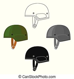 Army helmet icon in cartoon style isolated on white background. Military and army symbol stock vector illustration