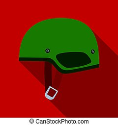 Army helmet icon in flat style isolated on white background. Military and army symbol stock vector illustration