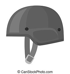 Army helmet icon in monochrome style isolated on white background. Military and army symbol stock vector illustration