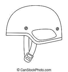 Army helmet icon in outline style isolated on white...