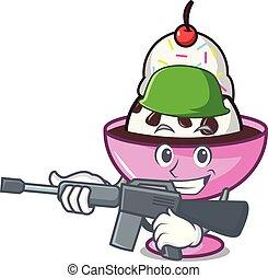 Army ice cream sundae character cartoon vector illustration