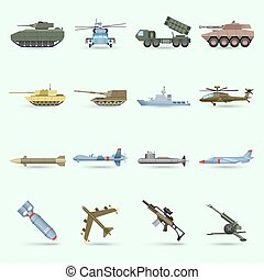 Army Icons Set - Army icons set with tank submarine military...