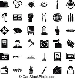 Army icons set, simple style
