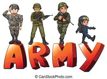 Army - Illustration a many soldiers with guns