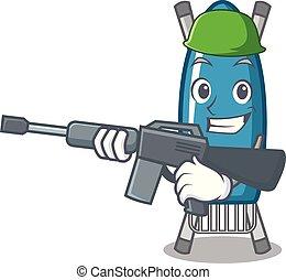 Army iron board character cartoon vector illustration