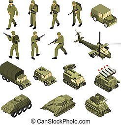 Army Isometric Icon Set - Military vehicles soldiers...