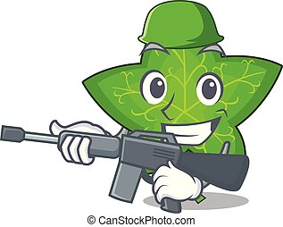 Army ivy leaf isolated on character cartoon