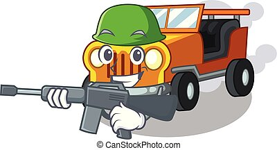 Army jeep car isolated with the cartoon