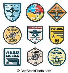 Army jet, aviation, air force vector labels, patch badges, emblems and logos set