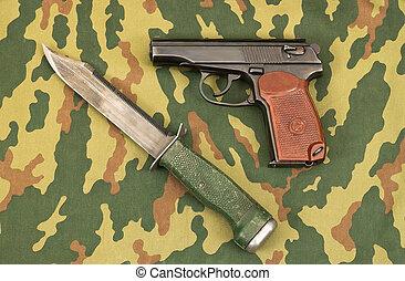 Army knife and handgun