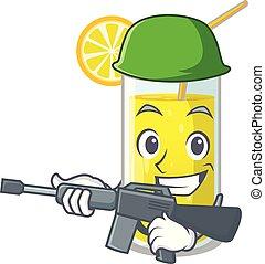 Army lemon juice glass on cartoon shape
