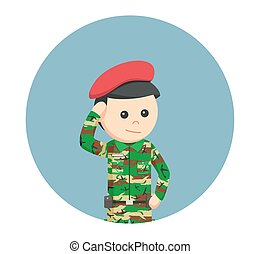 army man saluting in circle background