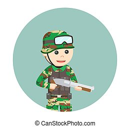 army man with shotgun in circle background