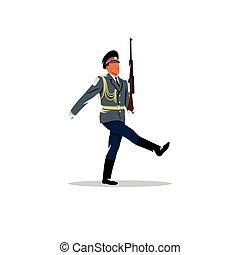 army., marches., żołnierz, uchronić, wektor, ruski, honor, illustration.