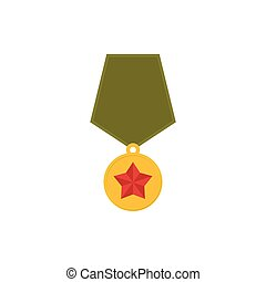 Army Medal isolated. Military reward on white background.