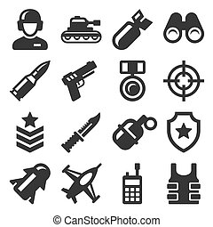 Army, Military and War Icons Set. Vector