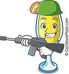 Army mimosa character cartoon style