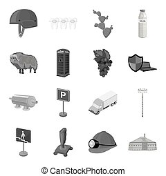 Army, mine, antiquity and other web icon in monochrome style.Mexico, winemaking, dentistry