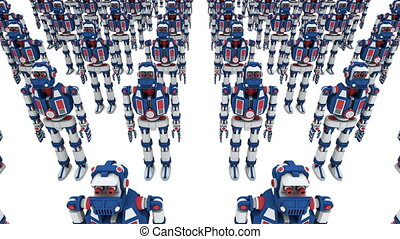 Army of clone robots. 3d seamless render looped animation.
