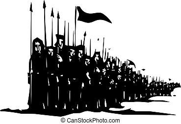 Army on the March - Woodcut style expressionist image of a...