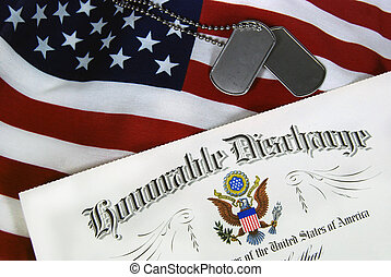 Army Paper - Military dishcharge with dog tags on flag.