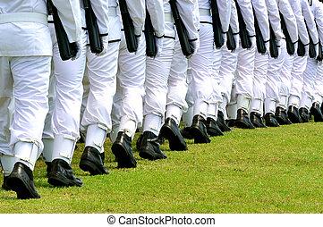 Army parade - The New Zealand Military Navy wear a plain...