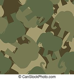 Army Pattern elephant. Camo background of green elephant. Military seamless ornament from animal jungle.