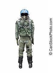 Army pilot uniform on white.