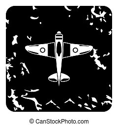 Army plane icon, grunge style